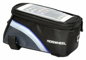 Велосипедная сумка Roswheel на раму размер S (7.5х8.5х16 см, чёрный/голубой)