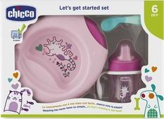 Набор посуды для кормления Chicco от 6 месяцев цвет розовый, 4 предмета