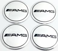 Наклейки на колесные диски АМГ серебро металл Mashinokom d 56mm