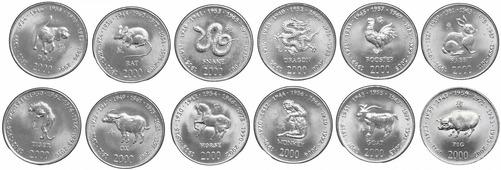 """Сомали набор монет 2000 """"Китайский гороскоп"""" (12 штук) V174201"""