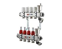 VALTEC Коллекторный блок из нержавеющей стали со встроенными расходомерами, на 10 выходов (арт. VTc.586.EMNX.0610) для теплого пола