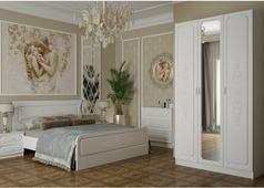 Спальня Магнолия с 3-ств. шкафом (белая структура)