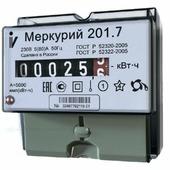 Счетчик э/энергии 1-фаз., 5 - 60А Меркурий 201.7, к.т.1.0, 1-тар. , на ДИН-рейку