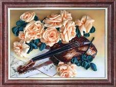 """Набор для вышивания лентами Каролинка """"Грация и музыка"""", кл(н) 3023, 25 х 32,5 см"""