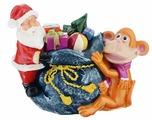 """Копилка декоративная Sima-land """"Мартышка и Дед Мороз с мешком подарков"""", цвет: синий, красный, коричневый"""
