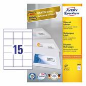 Самоклеющаяся бумага для принтера, белая, 70x50.8 мм (15 шт. на листе A4, 100 листов) {3669}