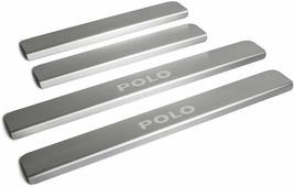 Накладки на пороги Rival для Volkswagen Polo V 2010-н.в., нерж. сталь, с надписью, 4 шт. NP.5803.3
