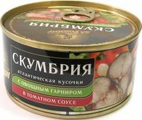 Скумбрия атлантическая За Родину кусочки, с овощным гарниром в томатном соусе, 185 г