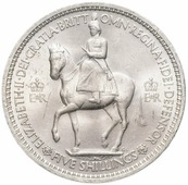 "Монета Великобритания 5 шиллингов (shillings) 1953 ""Коронация Королевы Елизаветы II"" T221301"