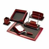 Настольный канцелярский набор Good Sunrise M7LF-1, 7 предметов, цвет: красный/черный