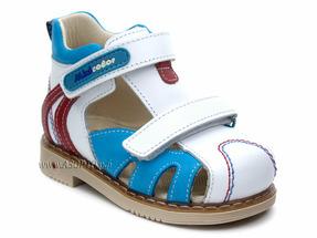532-18 Миниколор (Minicolor), сандалии детские закрытые профилактические, кожа, белый, голубой, красный