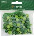 """Бусины """"Астра"""", деревянные, со шнуром, цвет: зеленый, салатовый, 90 шт"""