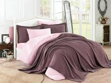 Покрывало с наволочкой Hobby Home Collection Naturel, цвет: темно-розовый, 180 х 230 см