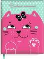 """Дневник школьный Феникс+ """"Кот"""", 48 листов, розовый, мятный"""