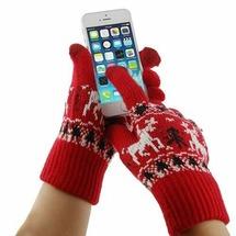 Модные перчатки с оленями для гаджетов с сенсорным экраном iPhone, iPad, Samsung, HTC и др. (красные)