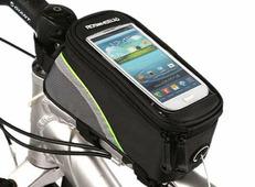 Велосипедная сумка Roswheel на раму размер L (9х10х19.5 см, чёрный/зелёный)