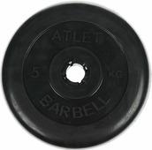 """Диск обрезиненный """"MB Atlet"""", цвет: черный, 5 кг"""