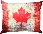 """Подушка декоративная Штучки, к которым тянутся ручки """"Флаг холст. Канада"""", цвет: красный, белый, 48 x 38 см"""