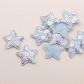 Патч с пайетками звезда 35х35мм, цвет голубой