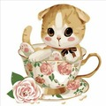 Картина по номерам Котенок в чашке №4 (PC3030004)