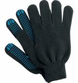 Перчатки вязаные с ПВХ прочные 10 кл, черные