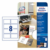 Двусторонние визитные карточки, лен, 260 г/м², 85x54 мм (8 шт. на листе A4, 10 листов) {C32096-10}