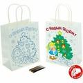 Пакет-раскраска подарочный крафтовый «Ёлочка», 18 × 23 см