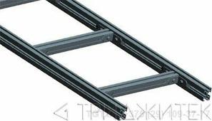 Лестничный лоток, прямая секция шириной 200 мм, сталь, 2.5 метра, серый