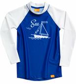 Детская лайкровая гидромайка с длинными рукавами iQ Uv Shirt Sea Kids L/s Blue