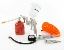 Набор пневмоинструмента, 5 предметов, быстросъемное соед., краскорасп. с верхним бачком// Matrix 57304