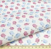 """Ткань Кустарь """"Совушки и птички №11"""", цвет: белый, голубой, розовый, 48 х 50 см"""