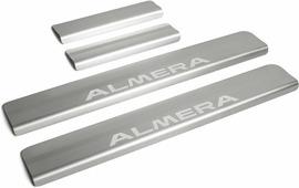Накладки на пороги Rival для Nissan Almera G15 2013-2018, нерж. сталь, с надписью, 4 шт. NP.4104.3