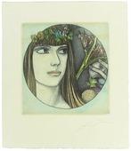 "Гравюра ""Девушка"" (Aura (Eva Vignette)). Эрнст Фукс. Австрия, 1976 год"