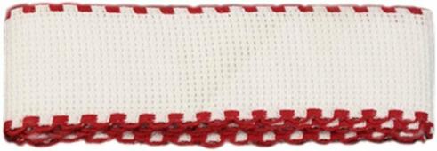 """Канва-лента для вышивания """"Bestex"""", цвет: белый, красный, 1,5 м х 3,5 см. 7707138"""