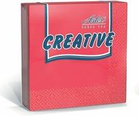 Салфетки бумажные Aster Creative, красный, 3-слойные, 33 х 33 см, 20 шт