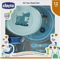 Набор посуды для кормления Chicco от 1 года цвет голубой, 5 предметов