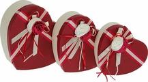"""Подарочная упаковка """"Сердце классика"""", бордовый, 3 шт"""