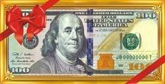 """Конверт для денег ЛиС """"100 долларов"""", с глиттером. ОК-279"""
