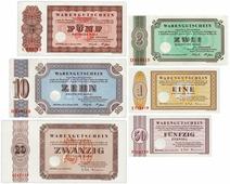 Германия ФРГ (Бефиль) набор из 6 банкнот 1958-1973 г (50 пфенингов, 1,2,5,10,20 марок) (германия, нотгельд, набор) Z423401