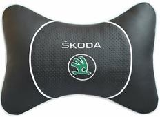 """Подушка на подголовник Auto Premium """"Skoda"""", цвет: черный. 37532"""