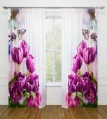 """Комплект фотоштор Стильный дом """"Фиолетовые тюльпаны"""", на ленте, высота 260 см"""