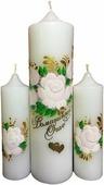 """Свечи свадебные Мир свечей """"Домашний очаг"""", ручная роспись, цвет: белый, высота 20 см"""