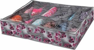 "Короб для хранения Handy Home ""Роза"", 12 секций, цвет: серый, фиолетовый, 75 х 60 х 15 см"