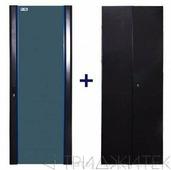 Комплект дверей 42U, 600 мм, черный, передняя - стекло, задняя - распашная металл