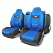 """Набор ортопедических авточехлов Autoprofi """"Comfort"""", для кресел с литыми подголовниками, велюр, цвет: черный, синий, 9 предметов. Размер M"""