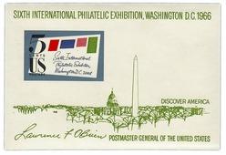 """США 1966 блок 5 центов """"Шестая международная филателистическая выставка"""" A421503"""