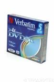 Записываемый компакт-диск Verbatim 43556 DVD+R DL+паст.цв. 4.7Gb SC, 1 штука