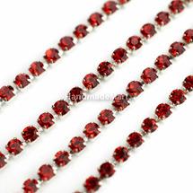 Цепочка Латунная Серебристая со Стразами, Красная, Звено 2×2 мм