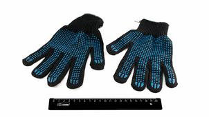 Перчатки х/б с ПВХ напылением Черные, 6 ниток класс10.3802/26n