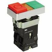 IEK Кнопка управления двойная LAY5-BW8465 I-O с подсветкой 240В (BBD40-BW-K51)